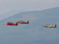 harvard t-6 texan and p-51 mustang take off