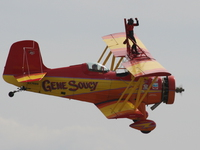 teresa stokes doing sky walking on gene soucy plane
