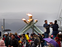 olympic torch near canada place Vancouver, British Columbia, Canada, North America