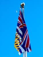 bc flag and lunar Vancouver, British Columbia, Canada, North America