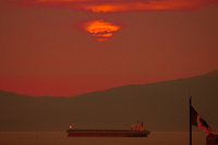 view--sunset tanker Abbotsford, British Columbia, Canada, North America