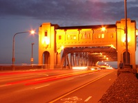 burrard bridge at night