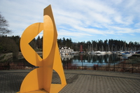 view--yellow sculpture in front of coal harbour