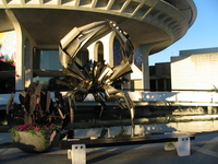 giant crab in front of space center