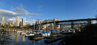 panorama picture of burrard bridge in vancouver