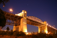 night time of burrard bridge
