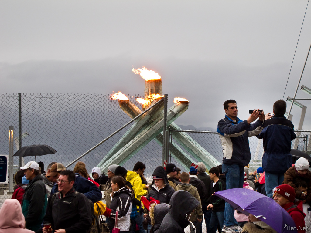 olympic torch near canada place