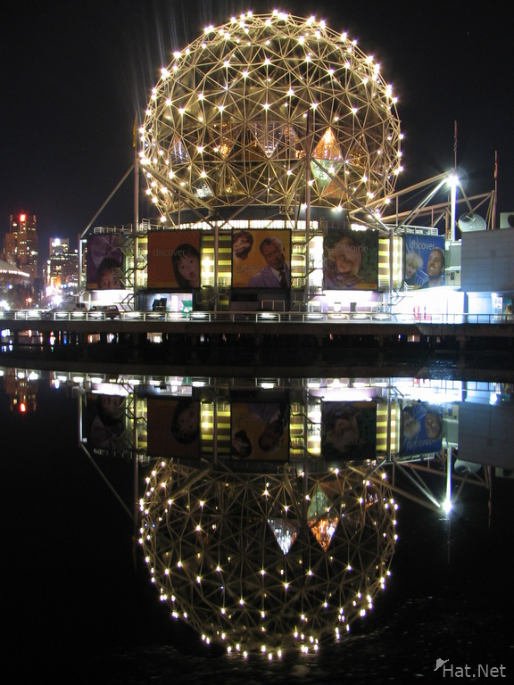 the bulb of science world at night