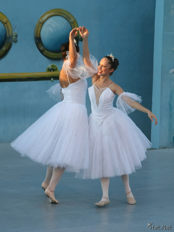two ballet dancers in white dress
