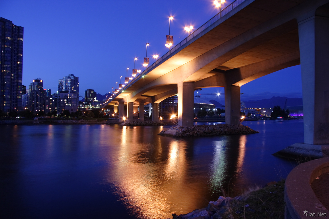 view--cambie bridge at night