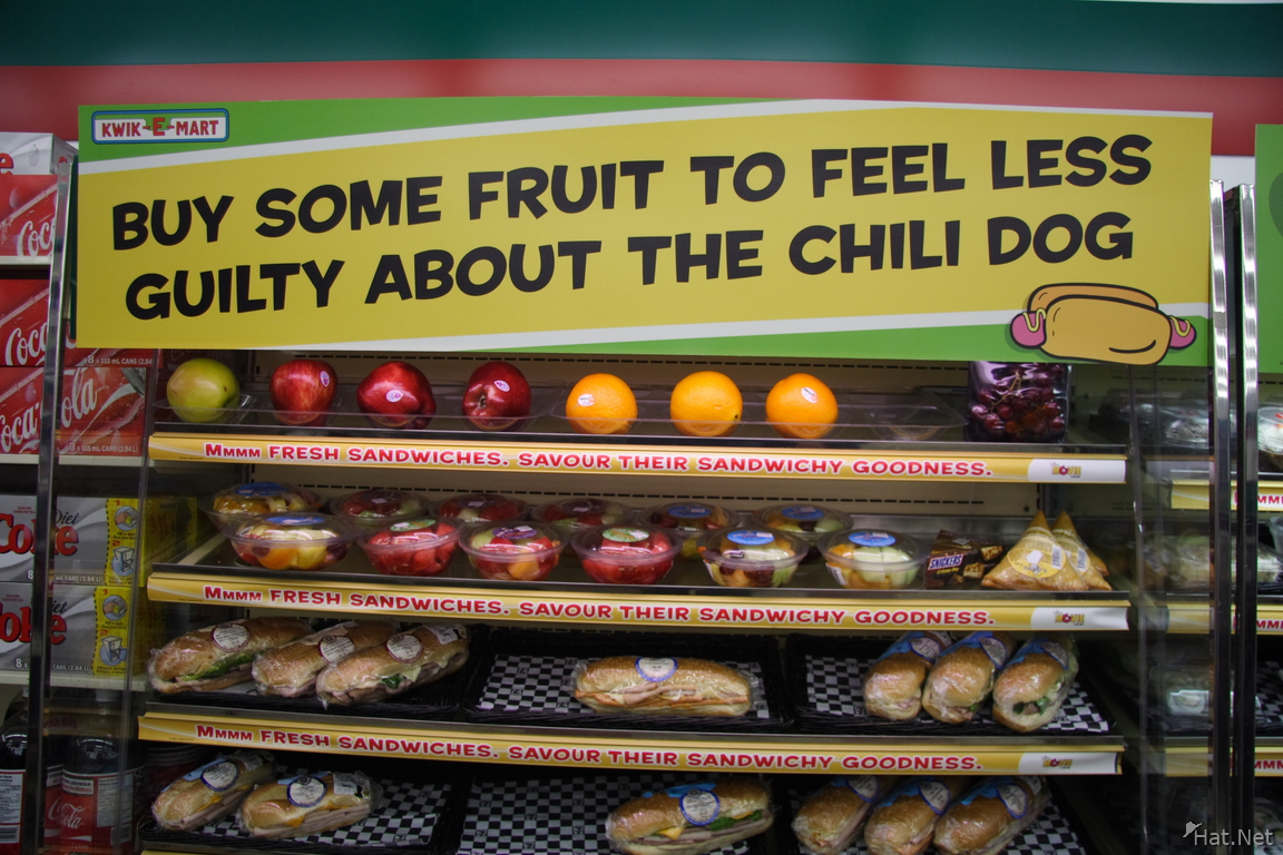 buy some fruit to feel less guilty about the chili dog