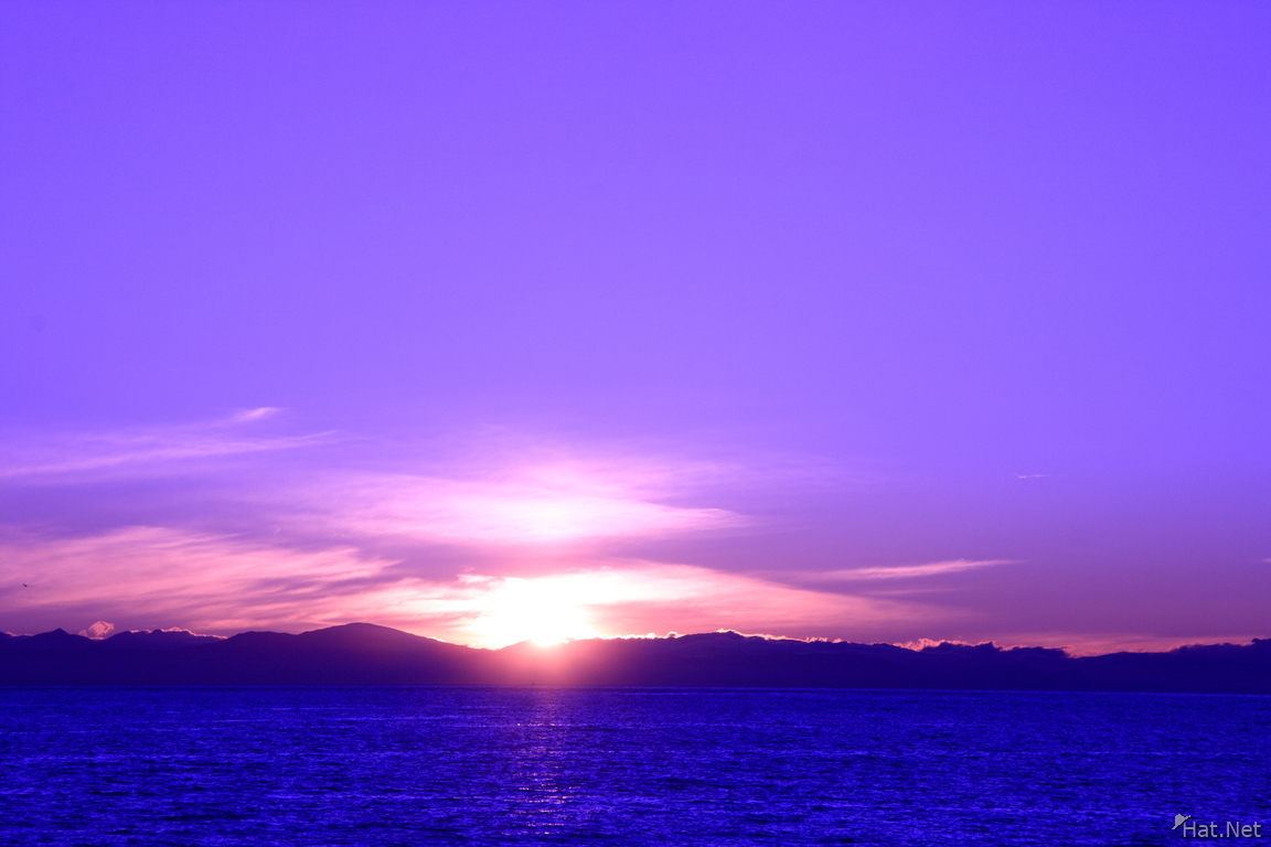 sunset with purple sky